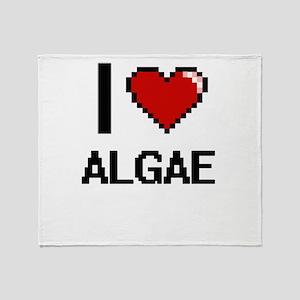I Love Algae Digitial Design Throw Blanket