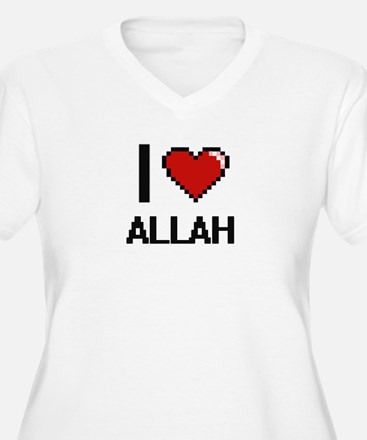I Love Allah Digitial Design Plus Size T-Shirt