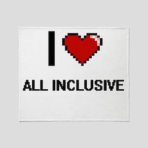 I Love All-Inclusive Digitial Design Throw Blanket