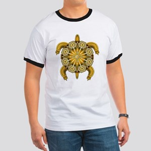 Yellow Native American Beadwork Turtle Ringer T