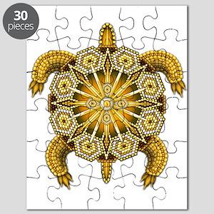 Yellow Native American Beadwork Turtle Puzzle