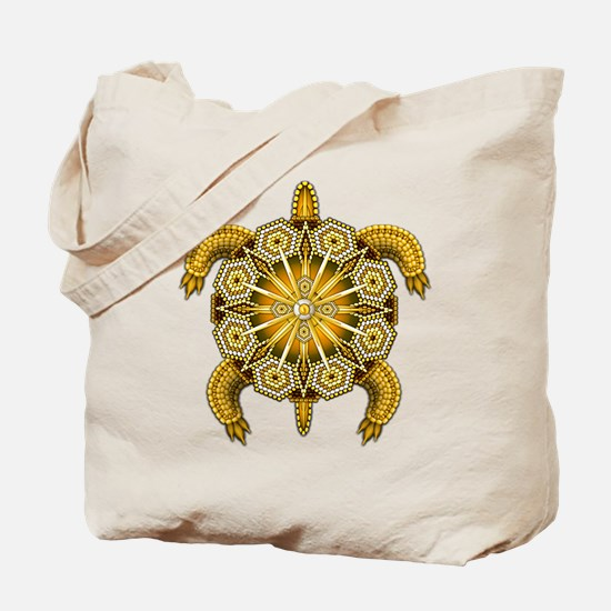 Yellow Native American Beadwork Turtle Tote Bag