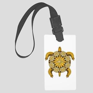 Yellow Native American Beadwork Large Luggage Tag