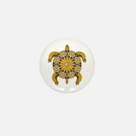 Yellow Native American Beadwork Turtle Mini Button