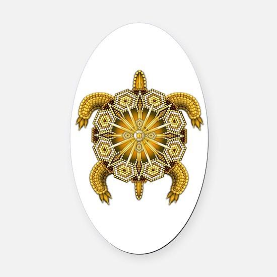 Yellow Native American Beadwork Tu Oval Car Magnet