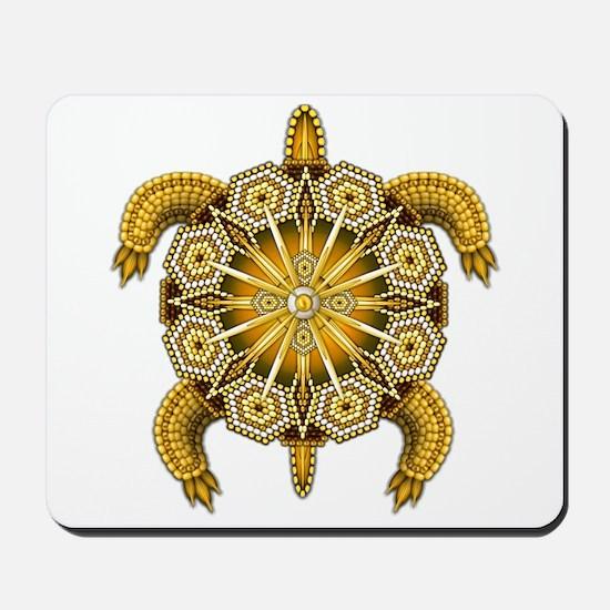 Yellow Native American Beadwork Turtle Mousepad