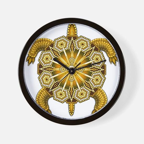 Yellow Native American Beadwork Turtle Wall Clock
