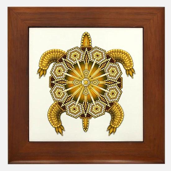 Yellow Native American Beadwork Turtle Framed Tile