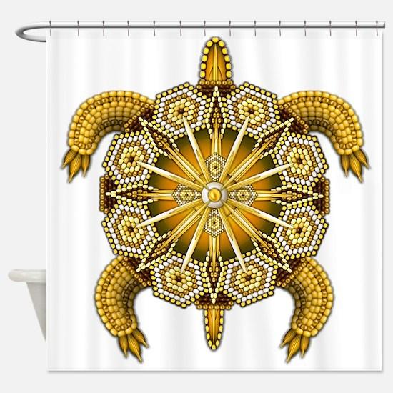 Yellow Native American Beadwork Tur Shower Curtain