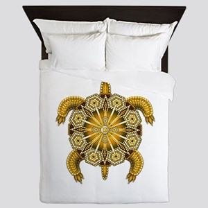Yellow Native American Beadwork Turtle Queen Duvet