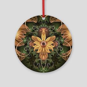 Beautiful Filigree Oxidized Copper Round Ornament