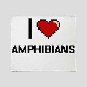 I Love Amphibians Digitial Design Throw Blanket