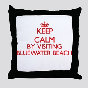 Keep calm by visiting Bluewater Beach Throw Pillow