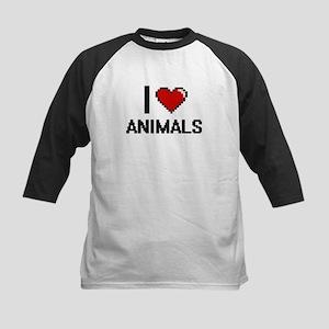 I Love Animals Digitial Design Baseball Jersey