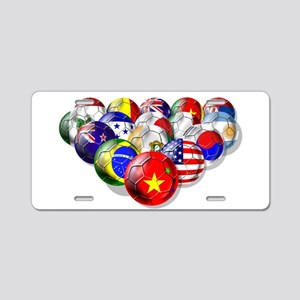 World Soccer Balls Aluminum License Plate