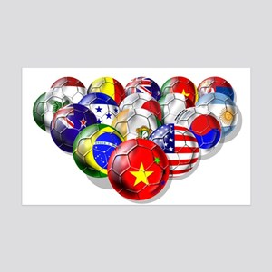 World Soccer Balls 35x21 Wall Decal