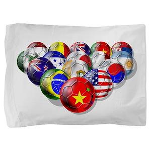 World Soccer Balls Pillow Sham