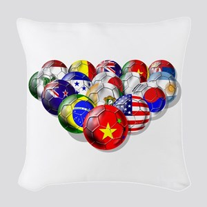 World Soccer Balls Woven Throw Pillow