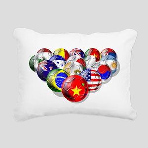 World Soccer Balls Rectangular Canvas Pillow