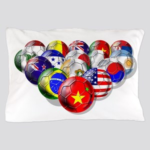 World Soccer Balls Pillow Case