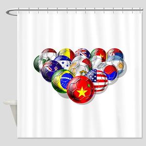 World Soccer Balls Shower Curtain