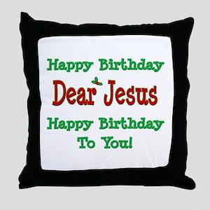 Happy Birthday Jesus Throw Pillow