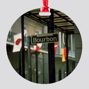 Bourbon Street Sign in New Orleans Round Ornament
