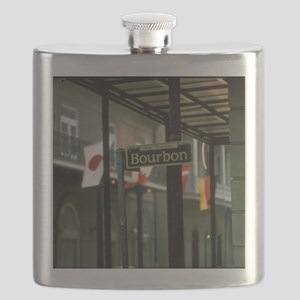 Bourbon Street Sign in New Orleans Flask