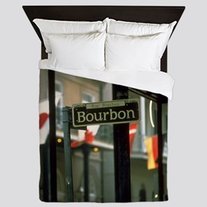 Bourbon Street Sign in New Orleans Queen Duvet