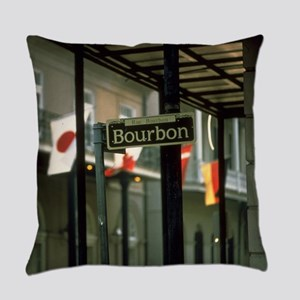 Bourbon Street Sign in New Orleans Everyday Pillow