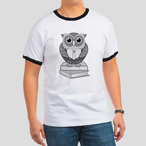 Owl on books (B&W) Ringer T