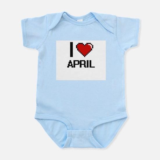 I Love April Digitial Design Body Suit
