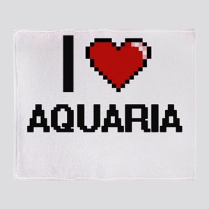I Love Aquaria Digitial Design Throw Blanket