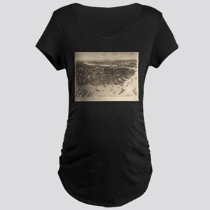 Vintage Pictorial Map of Boston Maternity T-Shirt