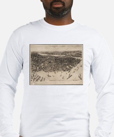 Vintage Pictorial Map of Bosto Long Sleeve T-Shirt