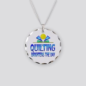 Quilting Brightens the Day Necklace Circle Charm