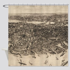 Vintage Pictorial Map of Boston (19 Shower Curtain