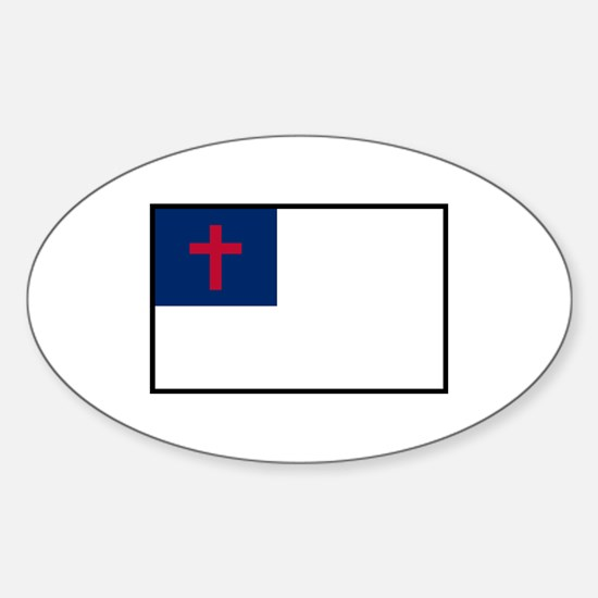 Christian Flag Sticker (oval)