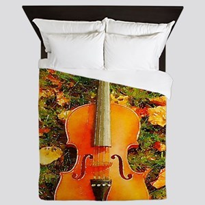 romantic fall leaves violin Queen Duvet