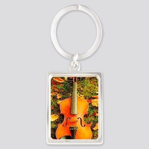 romantic fall leaves violin Portrait Keychain