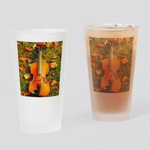 romantic fall leaves violin Drinking Glass