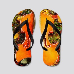 romantic fall leaves violin Flip Flops