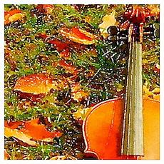 romantic fall leaves violin Poster