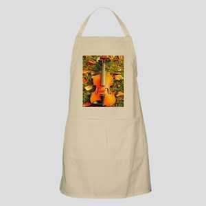 romantic fall leaves violin Apron