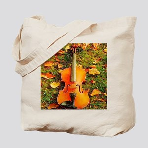 romantic fall leaves violin Tote Bag