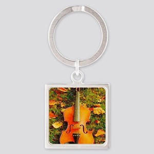 romantic fall leaves violin Square Keychain