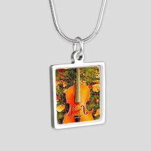 romantic fall leaves violi Silver Square Necklace