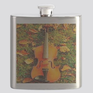 romantic fall leaves violin Flask