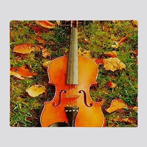 romantic fall leaves violin Throw Blanket