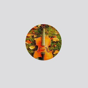 romantic fall leaves violin Mini Button